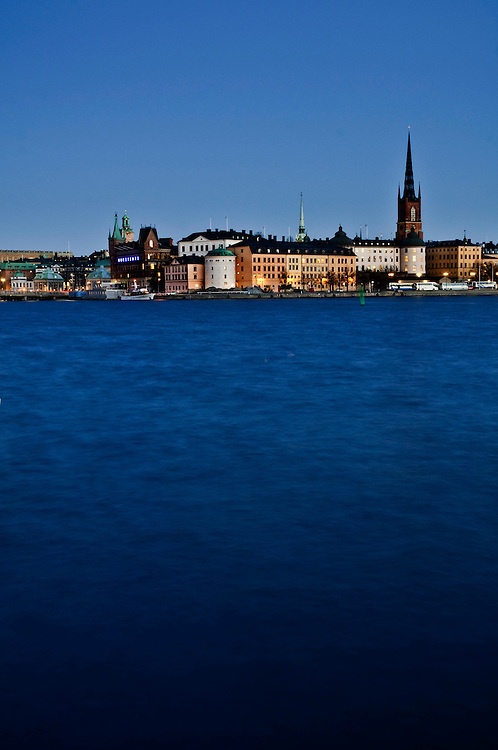 Riddarholmen and Gamla Stan, at sunset seen from Kungsholmen, Stockholm.