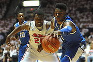 "Kentucky's Nerlens Noel (3) grabs the ball away from Mississippi's Nick Williams (20) at the C.M. ""Tad"" Smith Coliseum on Tuesday, January 29, 2013.  (AP Photo/Oxford Eagle, Bruce Newman).."