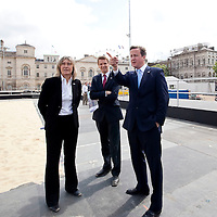Job Ref: 3921/ LOCOG 'One Year to Go' to the Olympic Opening Ceremony. David Cameron visits the site of the Beach Volleyball...©Andrew Baker Photographer.07977074356