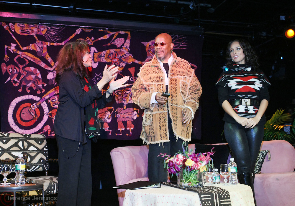 l to r: Liv Wright, Avery Brooks and Alicia Keys at the Dr. Barbara Ann Teer's Institute of Action Arts launch for the 41st  Communication Arts Program Symposium held at The National Black Theater in Harlem, NY on March 27, 2009