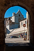 St. Francis of Assisi Basilica is framed in an archway in Assisi, Italy. (Sam Lucero photo)