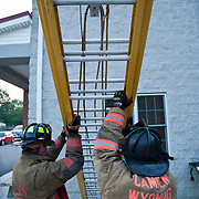 Rigorous Ladder training during taping of the new reality series fire asylum.