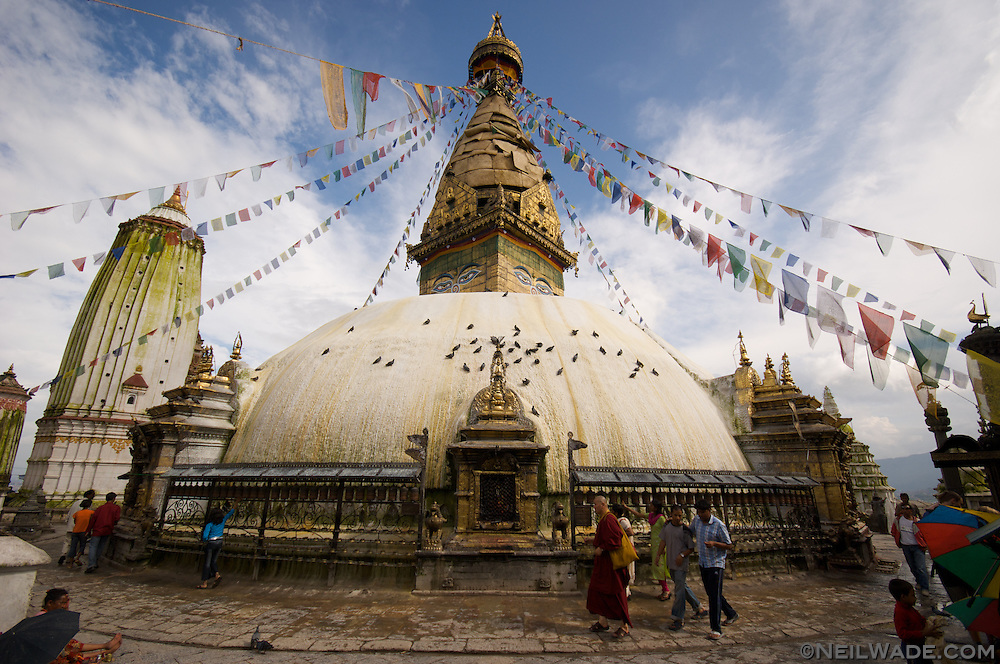 Swayambunath Stupa is a famous Buddhist shrine on a hill overlooking Kathmandu.