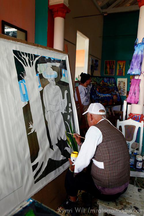 Central America, Cuba, Caibarien. Cuban Artist Octavio Carvajal Barroso in Caibarien at the studio workshop of Mayelin Perez Noa.
