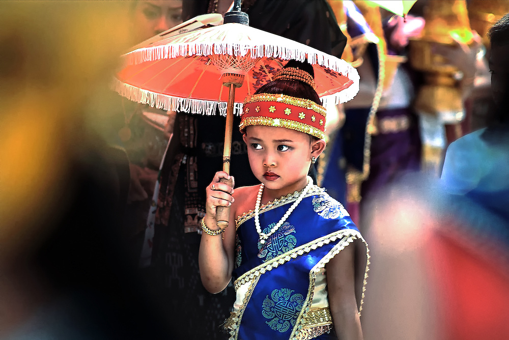 Dressed up for the Lao New Year festival in Luang Prabang, Laos.