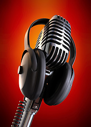50's microphone with headphones with a red background & clipping path included for those who need a different background.