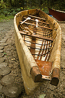 An Iñupiaq skin whaling boat by Leonard Apangalook Sr., Gambell, Alaska.  This boat was built during the Ttraditional Native Boat Project at the Alaska Native Heritage Center, Anchorage