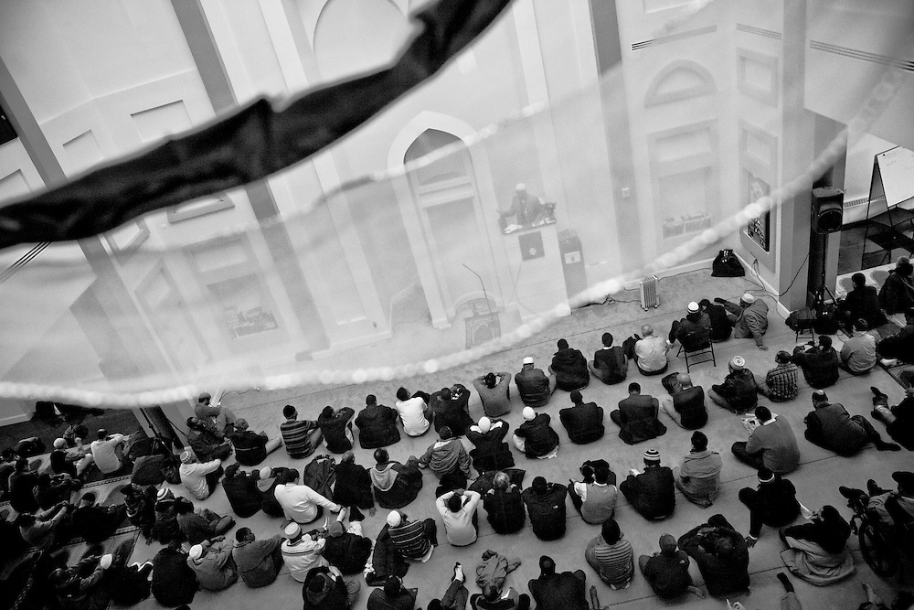 People gather for Friday's prayer at Islamic Society of Boston Cultural Center(ISBCC) which is the biggest mosque in Boston, which is located in Roxburry. This is the place not only to pray and see friends but also to educate children.