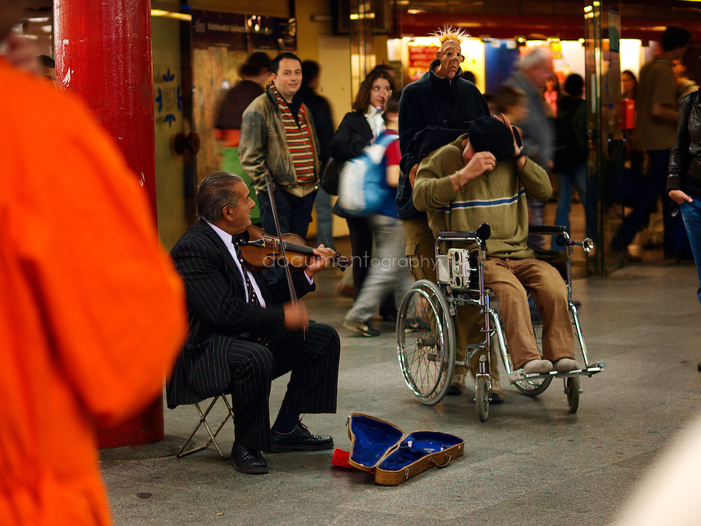 Street performers in Budapest's underground, Budapest, Hungary.