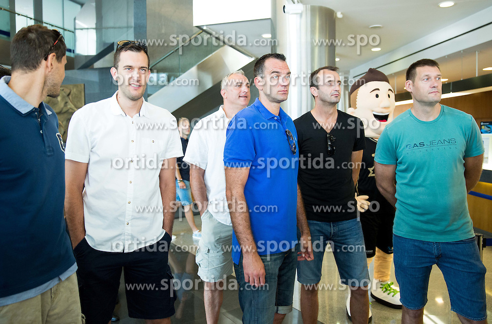 Bostjan Nachbar, Smiljan Pavic, Sasa Doncic, Jasmin Hukic, Jurica Golemac and Goran Jagodnik during press conference after Sani Becirovic, Slovenian Basketball player ended his a long and successful career and started as Coach Assistant in Panathinaikos, on July 22, 2015 in Ljubljana, Slovenia. Photo by Vid Ponikvar / Sportida