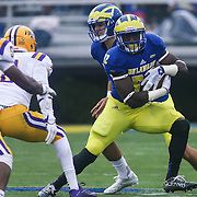 Delaware running back Kareem Williams (32) looks for the open hole during a week nine Colonial Athletic Association Conference game between the Delaware Blue Hens and the Albany Great Danes Saturday, Nov. 07, 2015 at Tubby Raymond Field at Delaware Stadium in Newark, DE.