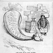 """""""Ah Sin was his name"""" The Heathen Chinee. """"That is just what I have been longing for""""   Chinese immigrant and equal rights and fair trade vs anti Chinese bill. Nast political cartoon on the 1879  Chinese race relations and 1877 riots Harper's Weekly March 8, 1879 politics, satire"""