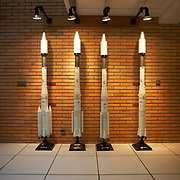 Ariane 5 rocket models in the foyer of Arianespace's Galilee building at the European Space Agency's Spaceport. French Guiana