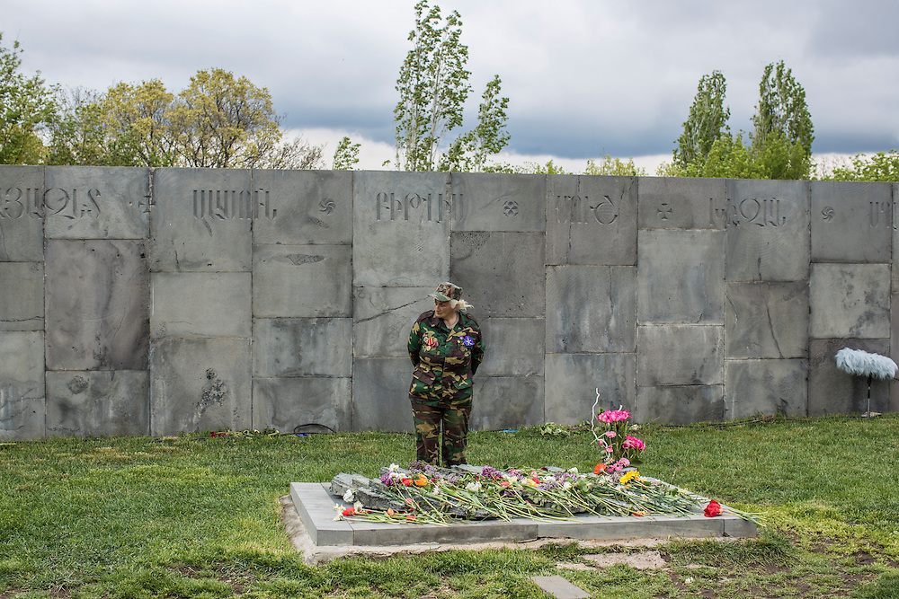 YEREVAN, ARMENIA - APRIL 24: A woman visits the Armenian genocide memorial on April 24, 2015 in Yerevan, Armenia. Armenians today are marking the one hundredth anniversary of events generally considered to be the start of a campaign of genocide against minority ethnic Armenians living in present-day eastern Turkey by the Ottoman government over fears of their allegiance during World War I. (Photo by Brendan Hoffman/Getty Images) *** Local Caption ***