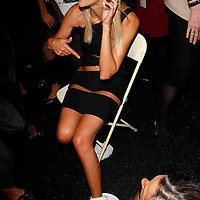 Backstage at Michael Kors - Carmen Kass injures her foots coming off the runway  during Mercede's Benz Fashion Week Spring 2010 on September 13, 2009. ..