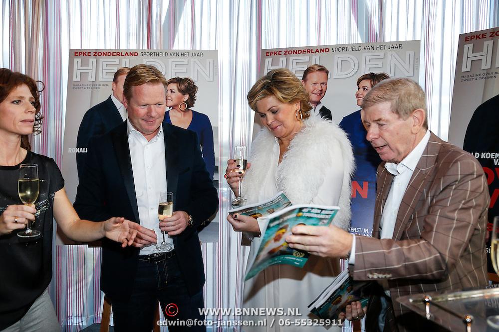NLD/Ridderkerk/20121120 - Lancering Helden magazine nr.16, Barbara Barend, Ronald Koeman en partner Bartina Borderveld en Frits Barend