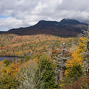 See Grandfather Mountain (5939 feet) blanketed in fall colors in mid October, along the Blue Ridge Parkway near Milepost 306, in Pisgah National Forest, North Carolina, USA.