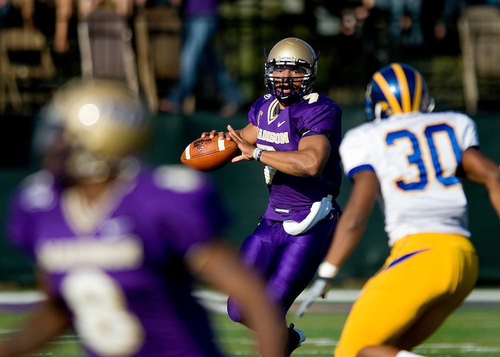 JMU quarterback Rodney Landers looks for a receiver during third quarter action against Delaware on Saturday.
