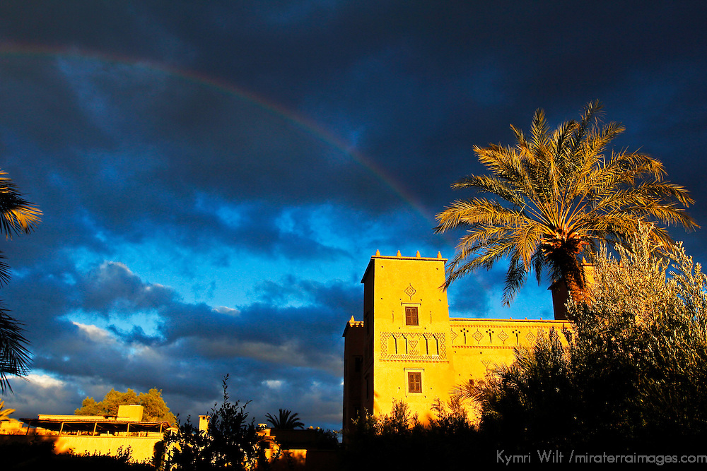 Africa, Morocco, Skoura. Rainbow over Dar Ahlam, a Relais et Chateaux property in Skoura, Morocco.