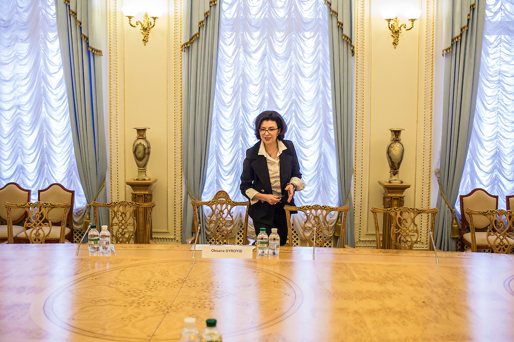 KIEV, UKRAINE - MARCH 4, 2016: Oksana Syroyid, deputy speaker of the Ukrainian parliament, arrives for a meeting with ambassadors from the Council of Europe in Kiev, Ukraine. Syroyid is one of parliament's main opponents of the constitutional reforms called for in the Minsk agreement intended to resolve fighting in eastern Ukraine. CREDIT: Brendan Hoffman for The New York Times