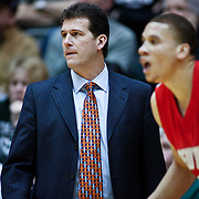 SHOT 2/23/10 10:26:18 PM - New Mexico head basketball coach Steve Alford works the sidelines during the second half of their regular season Mountain West Conference game against Colorado State at Moby Arena in Fort Collins, Co. New Mexico survived a tight game winning 72-66. (Photo by Marc Piscotty / © 2010)