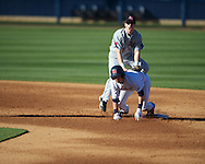 Ole Miss' Blake Newalu (6)  is forced out at second on a double play vs. Arkansas State in baseball action at Oxford-University Stadium in Oxford, Miss. on Tuesday, February 21, 2012. Ole Miss won the home opener 8-1 to improve to 2-1 on the season. Arkansas State dropped to 0-3.