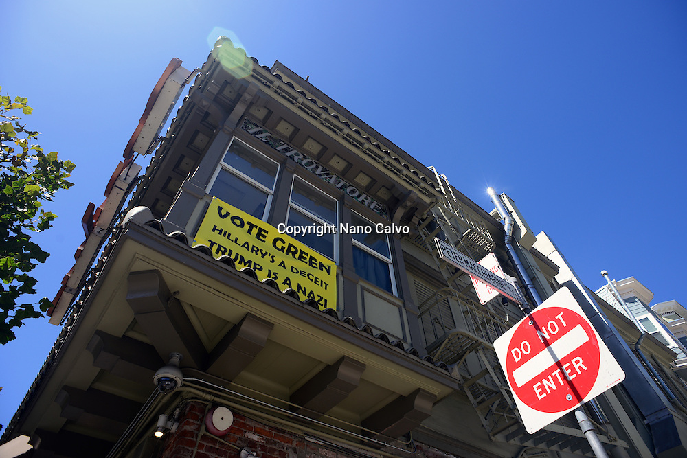 "Banner on window reads ""Vote Green. Hillary´s a deceit. Trump is a Nazi"", San Francisco."