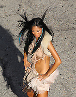 """April 21st 2011. Los Angeles, CA. Non Exclusive. Nicole Scherzinger performs some sexy dance moves on the streets of Downtown LA while filming a music video for her song """"Right There"""". The former Pussycat Doll also performed with some other sexy dancers in some scenes. Rapper 50 Cent filmed a cameo appearance in the video earlier in the week. Photo by Eric Ford/ On Location News 818-613-3955  info@onlocationnews.com"""