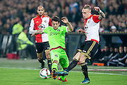 ROTTERDAM - Feyenoord - Ajax , Voetbal , KNVB Beker , Seizoen 2015/2016 , Stadion de Kuip , 25-10-2015 , Ajax speler Amin Younes (l) in duel met Speler van Feyenoord Rick Karsdorp (r)