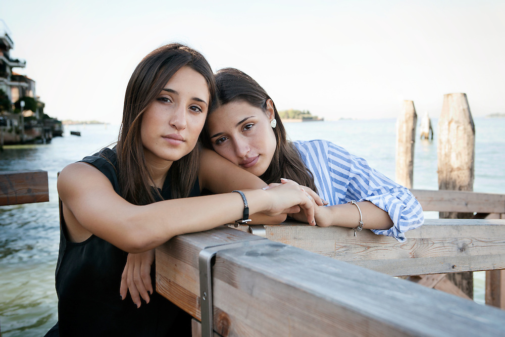 """Venice Lido, Italy, September 6, 2016. Marianna e Angela Fontana, young sisters and actresses, main characters in the movie """"Indivisibili"""" by Edoardo De Angelis, presented at the 73rd edition of the Venice Film Festival for Le Giornate degli Autori/Venice Days."""