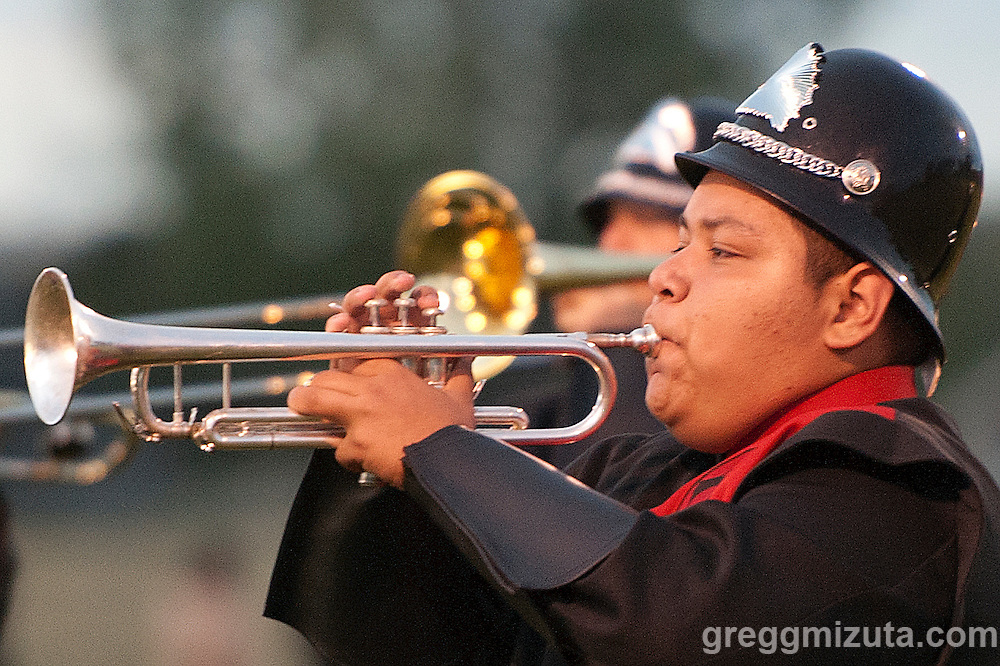 Parma Marching Band performs during the Vale - Parma football game, September 4, 2015 at Parma High School, Parma, Idaho. Vale won 31-10.