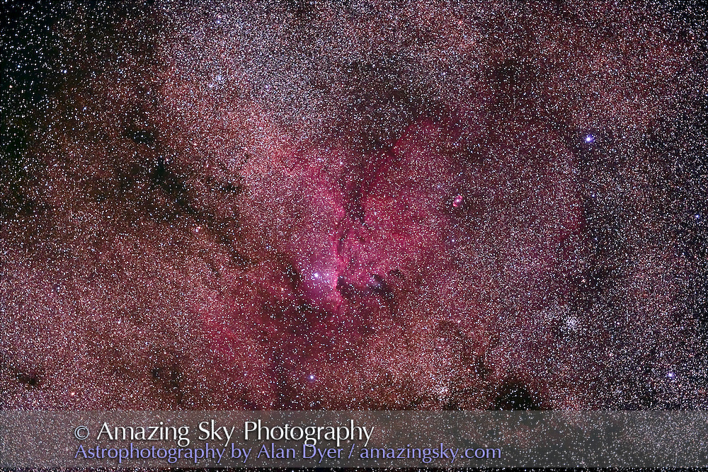 NGC 6188 area in Ara, taken with 77mm Borg astrographic refractor at f/4.3 and Hutech-modified Canon 5D camera, for stack of 5 x 8 minute exposures at ISO 400, taken April 18, 2007 from Coonabarabran, NSW, Australia. Doublelobed planetary nebula NGC 6164-5 at upper right, and clusters NGC 6167 at lower centre and NGC 6134 at lower right.