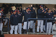 The Ole Miss dugout celebrates Stuart Turner's two run home run vs. Arkansas-Pine Bluff at Oxford-University Stadium in Oxford, Miss. on Wednesday, February 27, 2013.