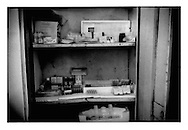 Medicine cabinet at at Kabul's only gov?t run mental hospital, Psychiatric and Drug Dependency Hospital, Kabul, Afghanistan.  Until recently this cabinet was almost empty until an UN worker donated the funds to purchase this medicine.