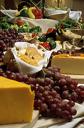 Cheese, grapes, crackers, vegetables