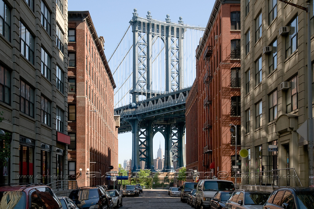 Street of Brooklyn and Manhattan Bridge