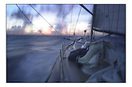The Clipper Around the World Race 2000.Pre dawn light illuminates the deck.. .Marc Turner / PFM.www.pfmpictures.co.uk