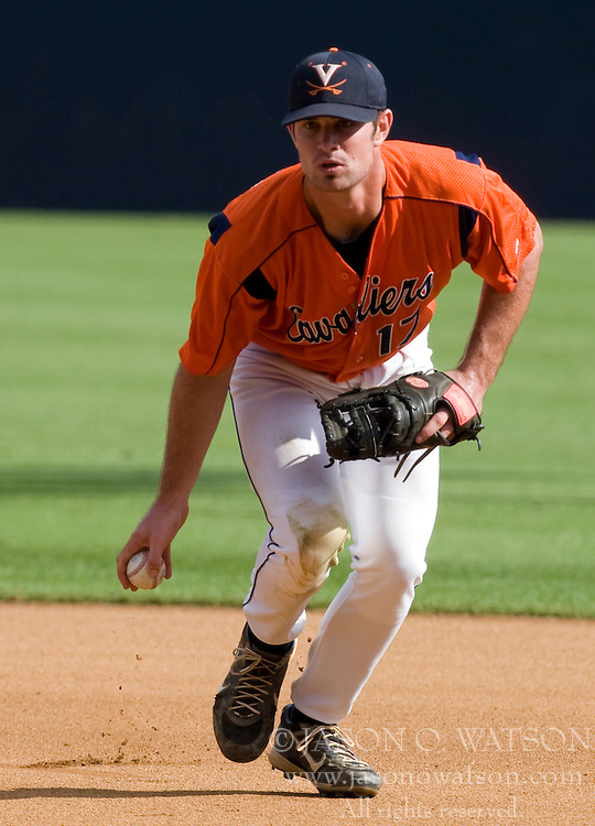 Virginia Cavaliers INF Jeremy Farrell (17)..The Virginia Cavaliers baseball team held a seven game Orange and Blue World Series at Davenport Field in Charlottesville, VA.  Images are from Game 6 held on October 22, 2007.
