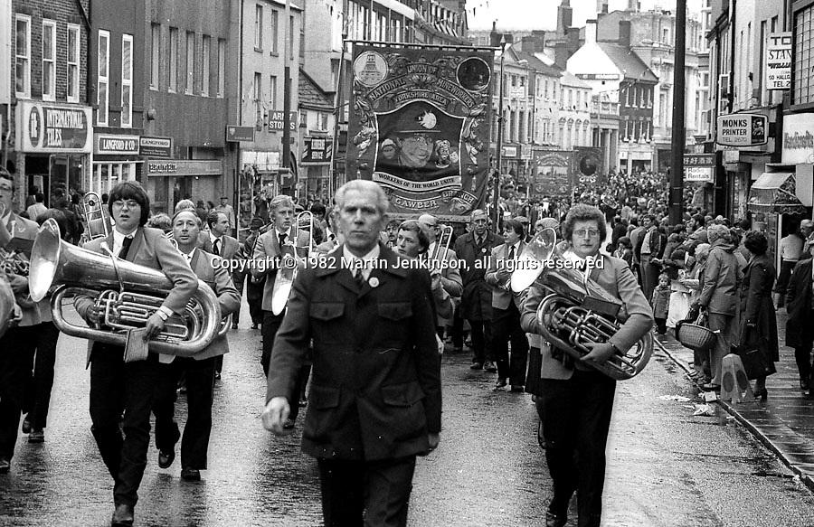 North Gawber banner, 1982 Yorkshire Miner's Gala. Doncaster