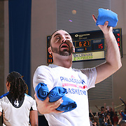 A member of the Philadelphia 76ers Phi-light Squad performs in the course of a time out during a NBA D-league regular season basketball game between the Delaware 87ers and the Maine Red Claws Friday, Feb. 19, 2016 at The Bob Carpenter Sports Convocation Center in Newark, DEL.