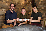 Grey Seal coffee roasters have opened a new coffee shop in Blakeney on Saturday. The coffee is roasted in North Norfolk where it can be bought online and in the shop. Pictured from left David Lane, Marc Sangster and Tobias Sangster-Bullers. <br /> <br /> Picture: MARK BULLIMORE