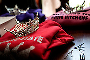 The girls crowns are laid out on top of sweatshirts their mother, Gina, had made for them before leaving for the Miss Ohio pageants.