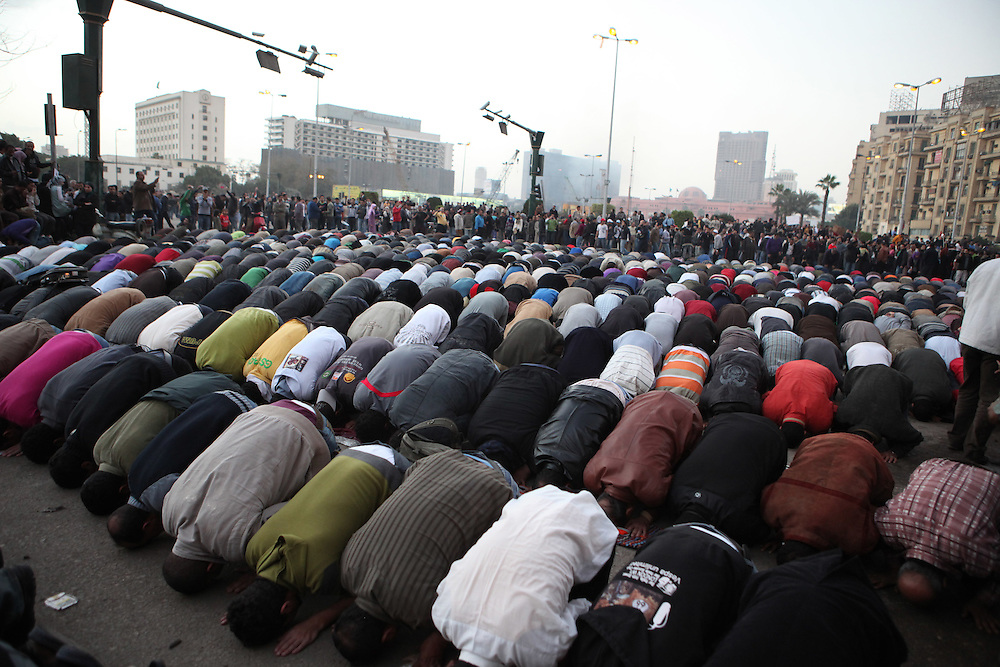 Muslim protestors pray at Tahrir Square during a protest calling for the ouster of President Hosni Mubarak.