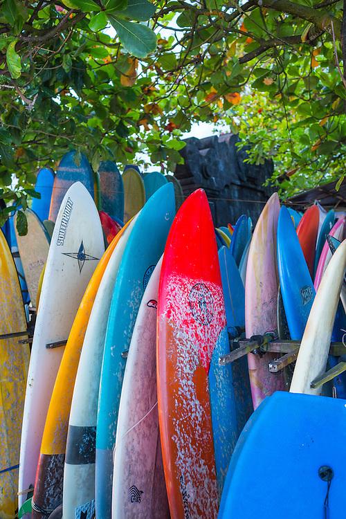 Surf boards for rent at Batubolong beach.