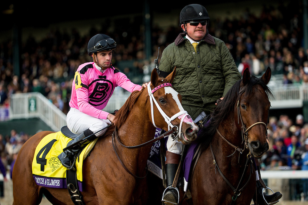 October 30, 2015:  Catch A Glimpse with Florent Geroux wins the Breeders' Cup Juvenile Fillies Turf at Keeneland Race Track in Lexington, Kentucky. Evers/ESW/CSM