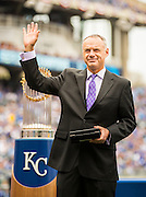 KANSAS CITY, MO - APRIL 5, 2016: Major League Baseball Commissioner Rob Manfred waves to the crowd before presenting the Kansas City Royals with their World Series Championship rings during pre-game ceremonies before the game between the New York Mets and the Kansas City Royals at Kauffman Stadium on April 5, 2016 in Kansas City, Missouri. (Photo by Jean Fruth)