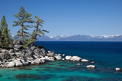 """Boulders at Lake Tahoe 43"" - Photograph of boulders along the East shore of a very blue Lake Tahoe, just north of Sand Harbor."