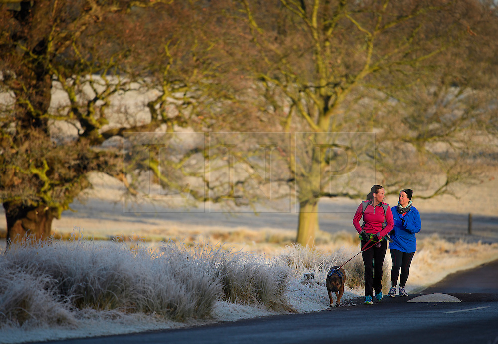 © Licensed to London News Pictures. 03/01/2017. London, UK. Two women jogging with their dog through a frost covered landscape in Richmond Park in London as temperatures in the capital drop below zero. . Photo credit: Ben Cawthra/LNP