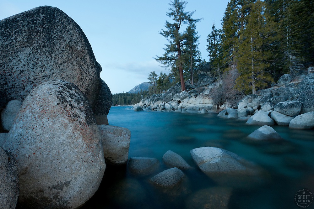 """Boulders on Lake Tahoe 30"" - These boulders were photographed just after sunset near Secret Cove, Lake Tahoe."
