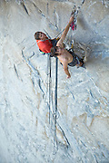 """Tommy Caldwell and Alex Honnold on the belay below the crux roof on pitch # 2 of """"Wet Lycra Nightmare,"""" Leaning Tower, Yosemite N.P."""
